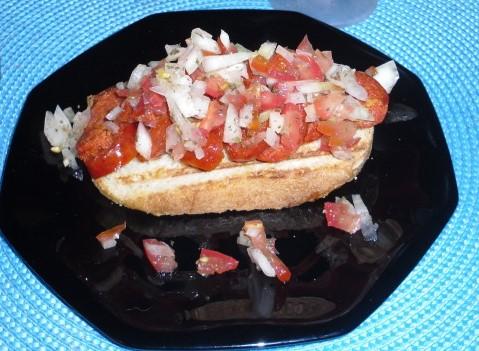 Chorizo bruschetta
