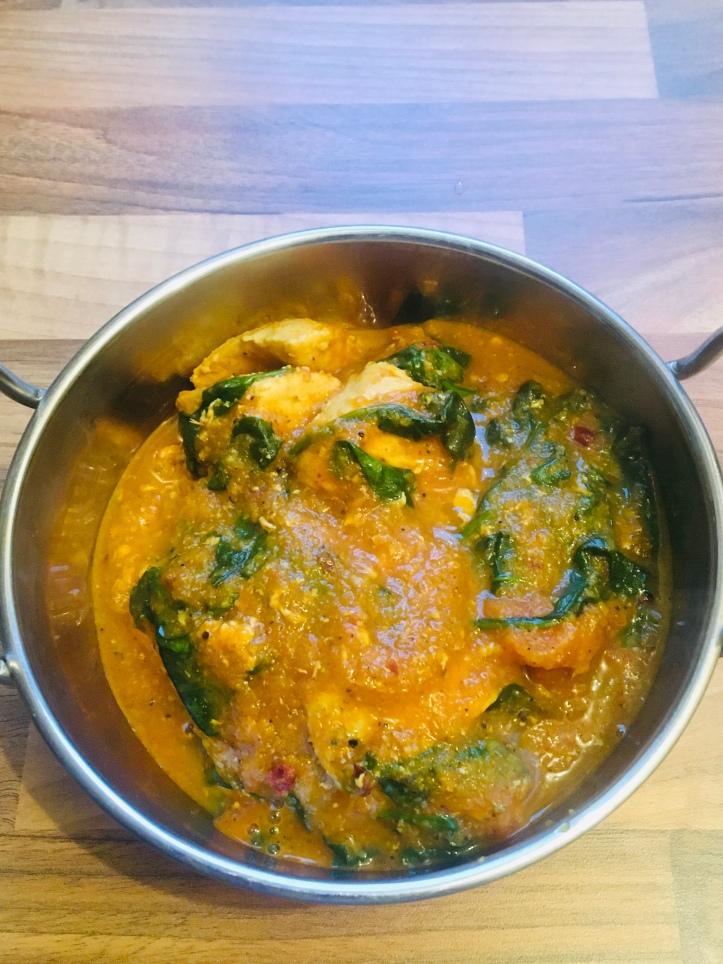 Chicken served in a balti dish